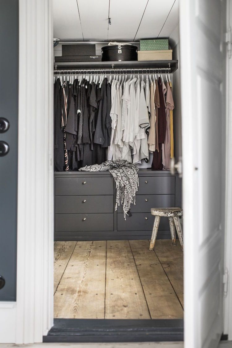 Grey And White Walk In Wardrobe In A Swedish Family Home In A Former Museum Scandinavian Home My Scandinavian Home Walk In Closet Inspiration