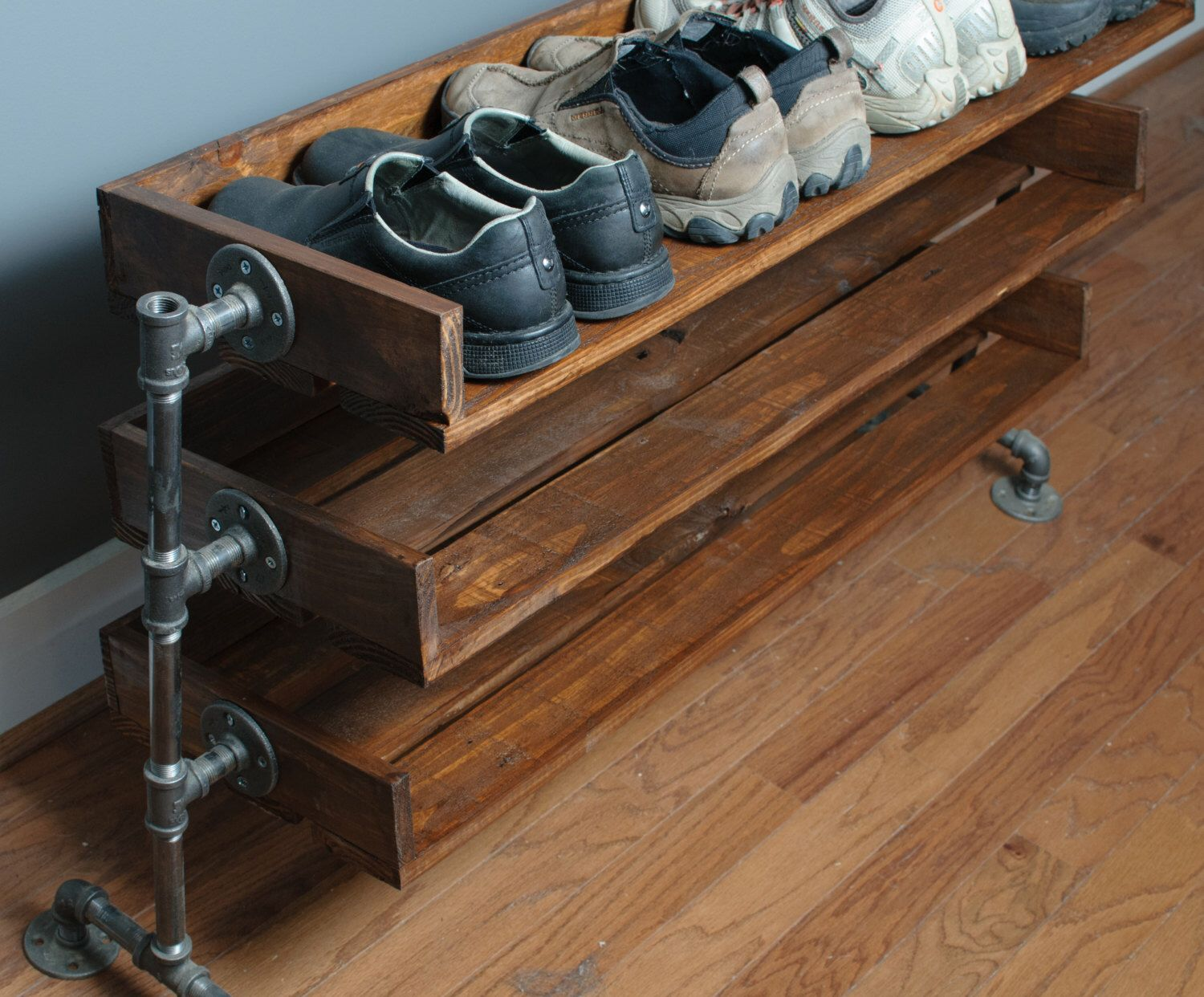 Handmade Reclaimed Wood Shoe Stand with Pipe Stand Legs by ReformedWood on Etsy https://www.etsy.com/listing/176430256/handmade-reclaimed-wood-shoe-stand-with