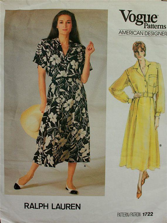 80s Shirt Dress Size 8 Bust 31.5 Blassport Ltd Vintage Pattern Vogue 1556 Uncut