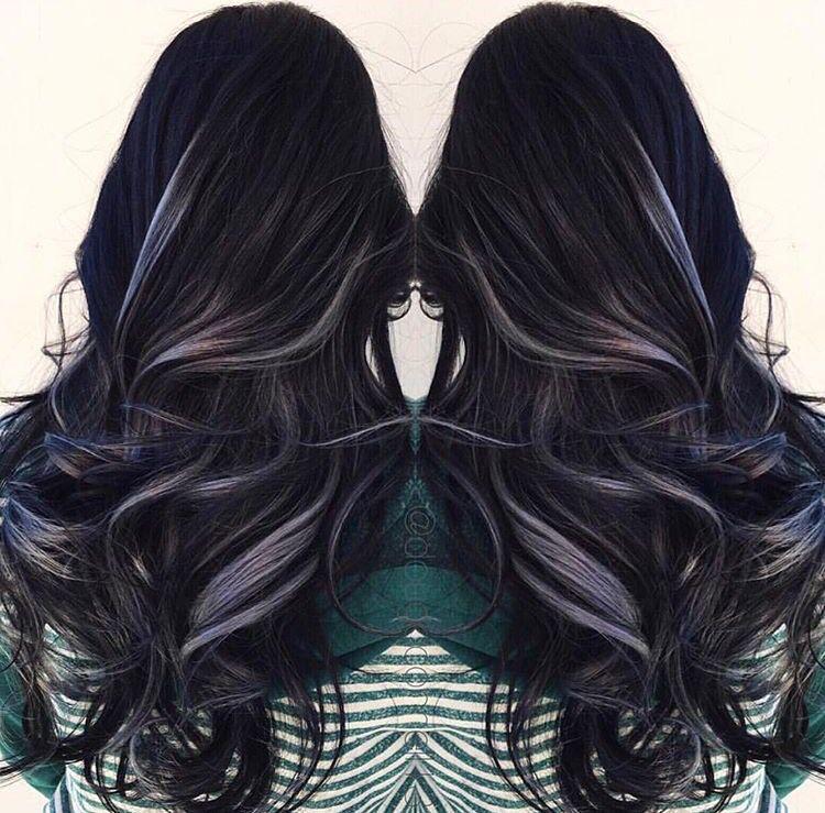 Black Hair With Grey Highlights Beauty Pinterest Grey