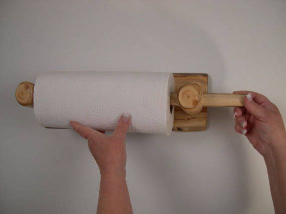 Paper Towel Holder Wood Wall Mounted Rustic Kitchen Decor Log
