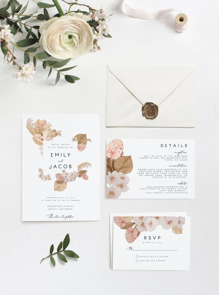 Orchid wedding pampas grass wedding template printable