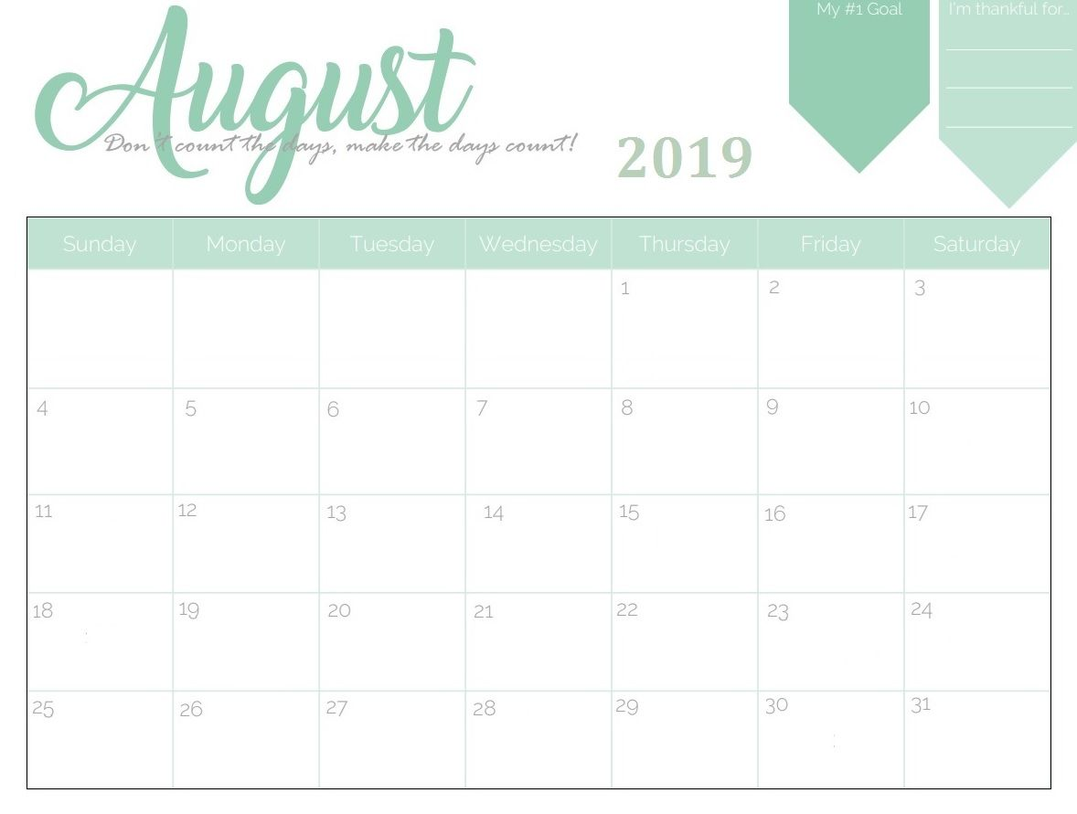 image regarding Printable Aug Calendar named Printable August 2019 Calendar The calendar design and style , for 3