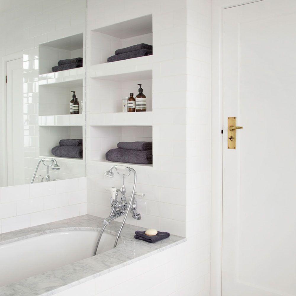Bathroom Building Shelves Between Studs Recessed Storage Cabinets Wall Vanity The Broom Closet Ceramic Tile Shower Media