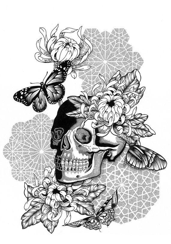 A3 Art Print Skull, Moths, Butterflies and Flowers with
