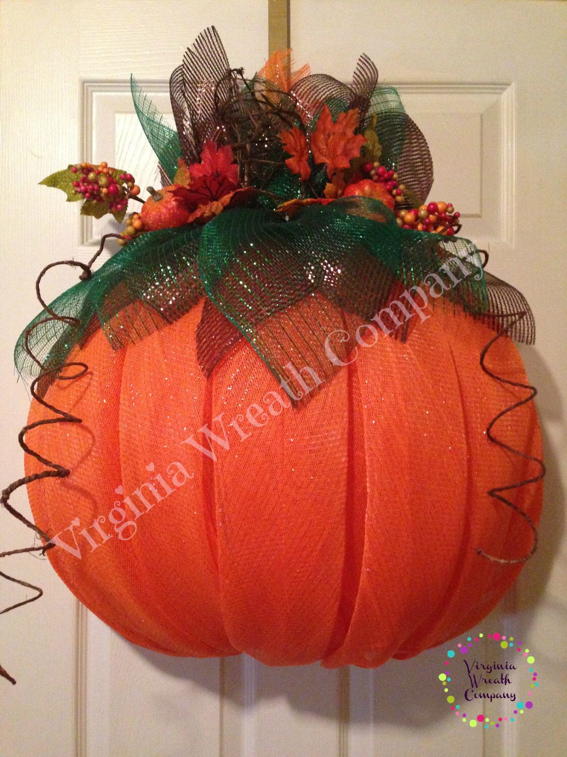 Deluxe Pumpkin Deco Mesh Wreath by VirginiaWreathCo on
