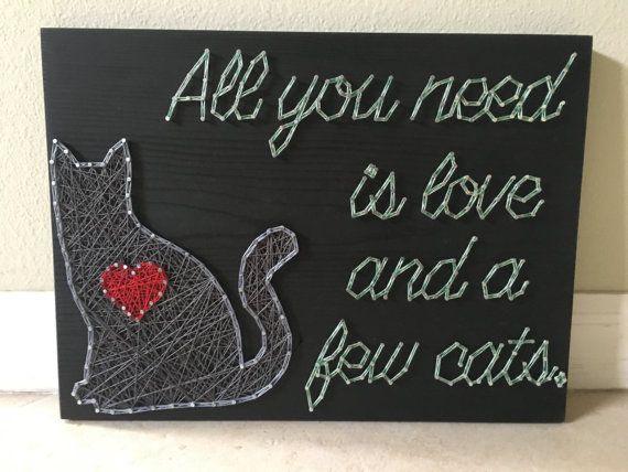 CUSTOM Cat/Love String Art Animal art Wall hanging door KiwiStrings