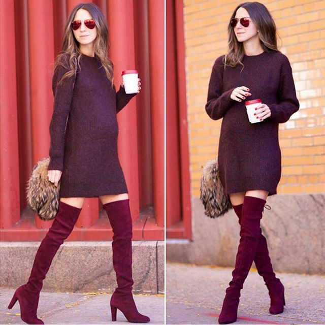 Style bumpin' in boots! #preggonista #pregnancystyle #maternitystyle #maternityfashion #sweaterweather #momtobe #ootd