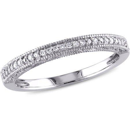 Miabella 1 10 Carat T W Diamond 10kt White Gold Wedding Band Whitediamonds Diamond Anniversary Bands White Gold Diamond Wedding Bands