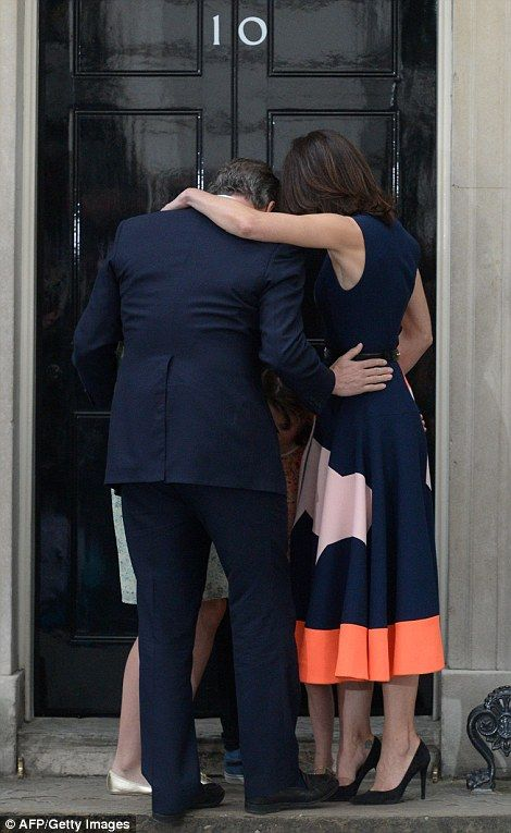 In a parting speech before heading to Buckingham Palace to tender his resignation, David Cameron, pictured flanked by his family, wished his successor Theresa May luck in her new role.
