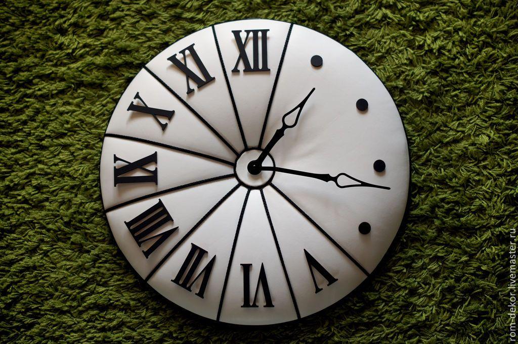 "Купить Часы ""The Midday In Salzburg"". 50 см,натуральная кожа. - белый"