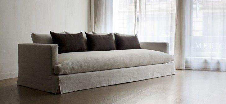 Elegant Linen Blue Sofa Farmhouse   Buscar Con Google