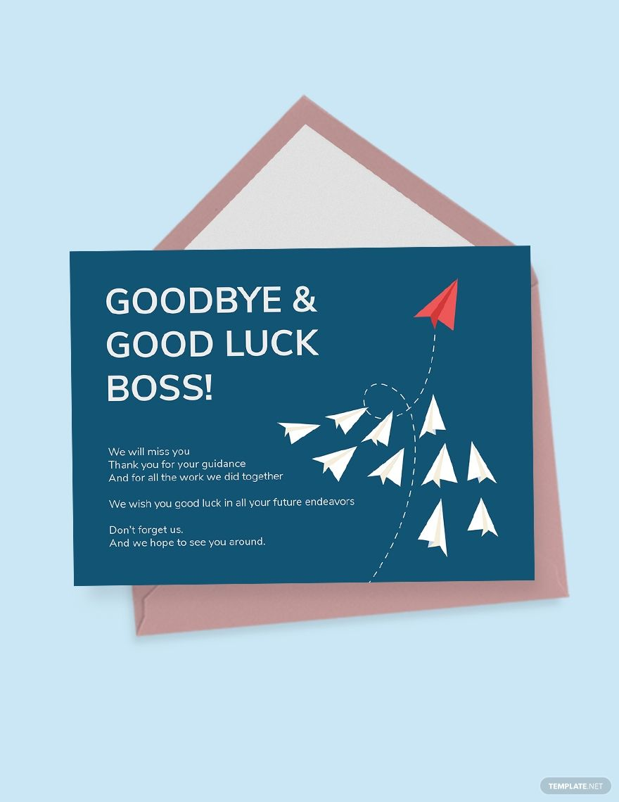 Farewell Card Template For Boss In 2020 Farewell Cards Goodbye And Good Luck Business Card Template Design