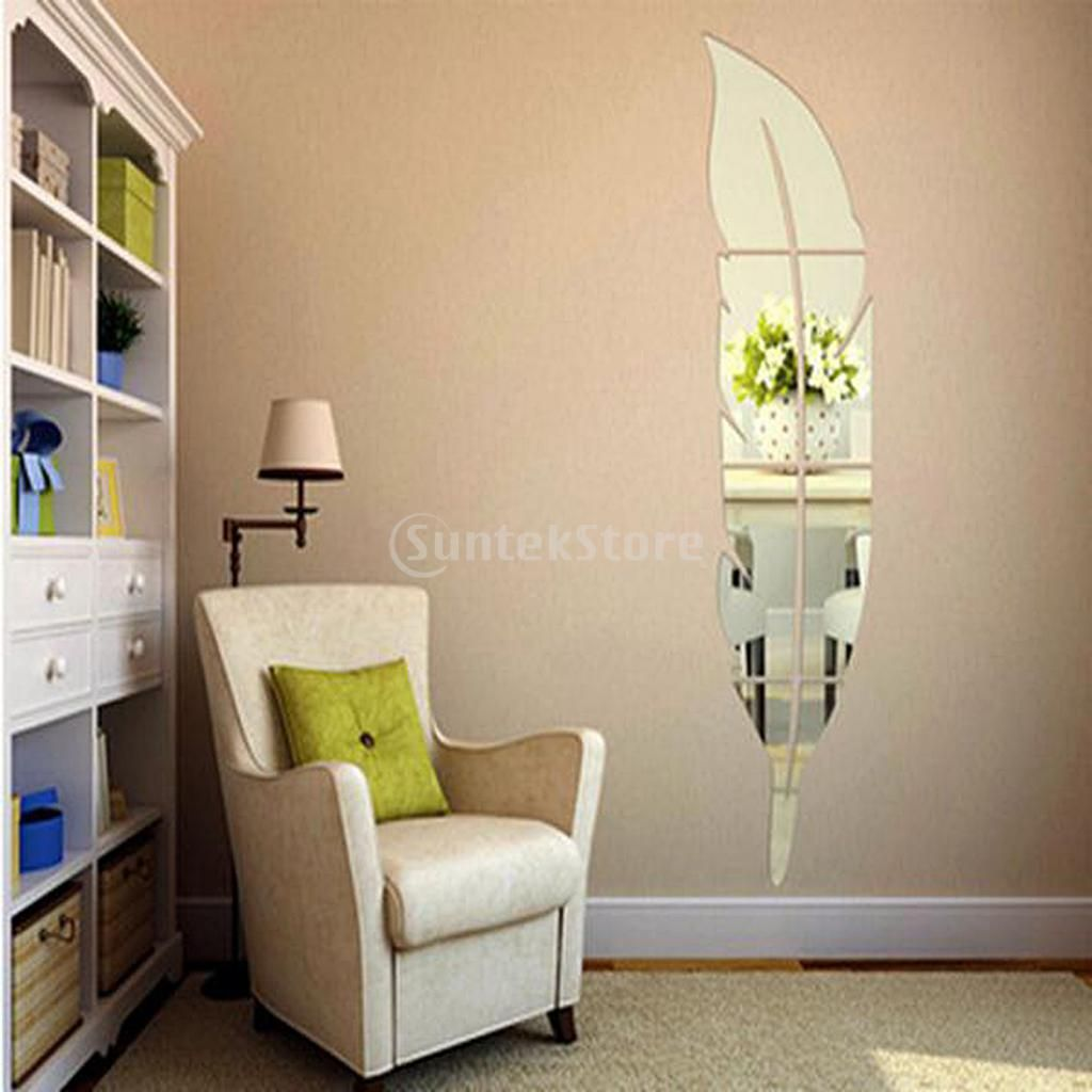 Feather pattern d mirror wall stickers vinyl art mural decal home