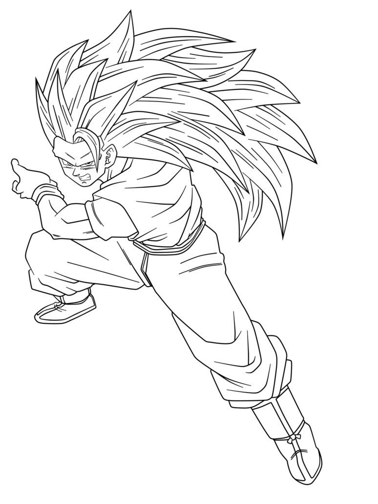Goku Fase 3 Para Colorear Dibujo De Goku Dibujos Goku