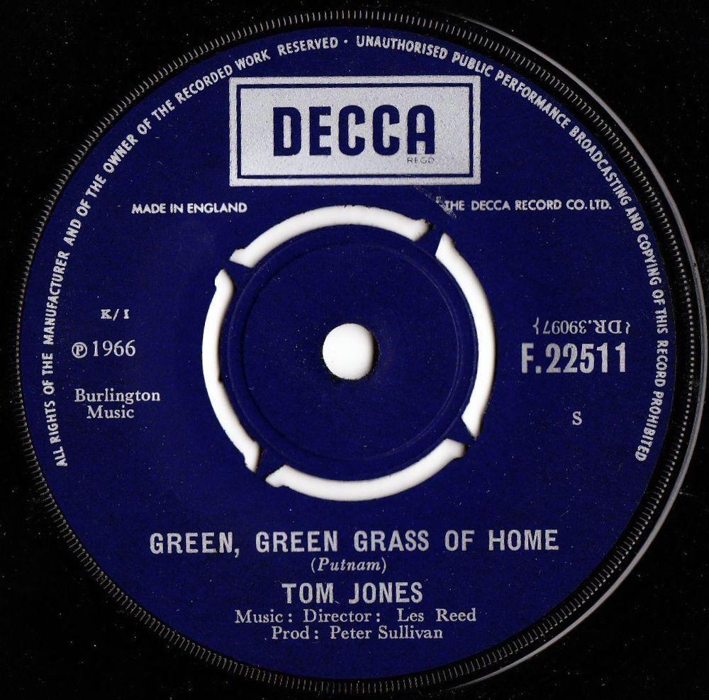 Tom Jones Green Green Grass Of Home 1966 Uk Decca Records 7 Vinyl Single Music Record Records Vinyl Sales