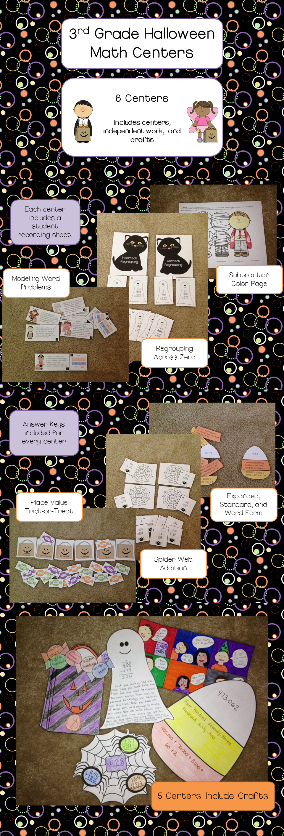 Halloween Math Centers with Crafts for 3rd Grade | Halloween math ...