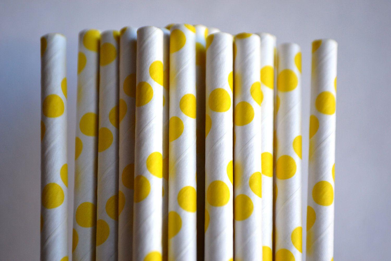25 yellow polka dot vintage style paper straws 500 via