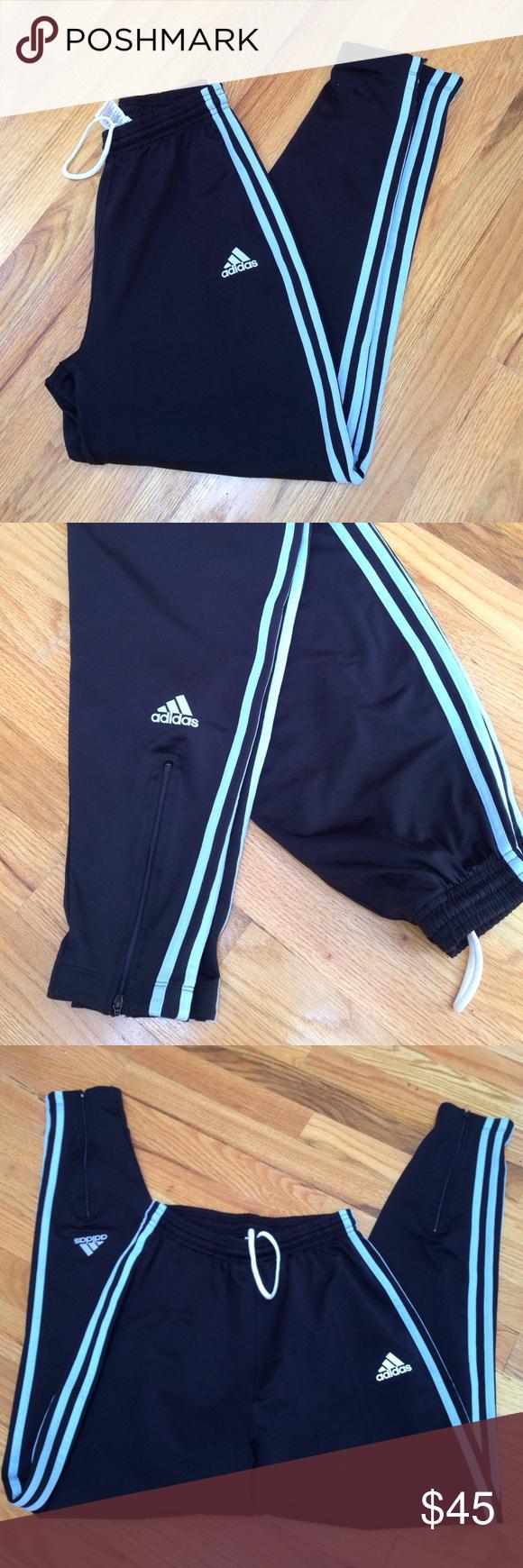 af74b4cbeb54 Adidas pants Adidas track pants with stripe down leg. Back of leg zipper  with adidas
