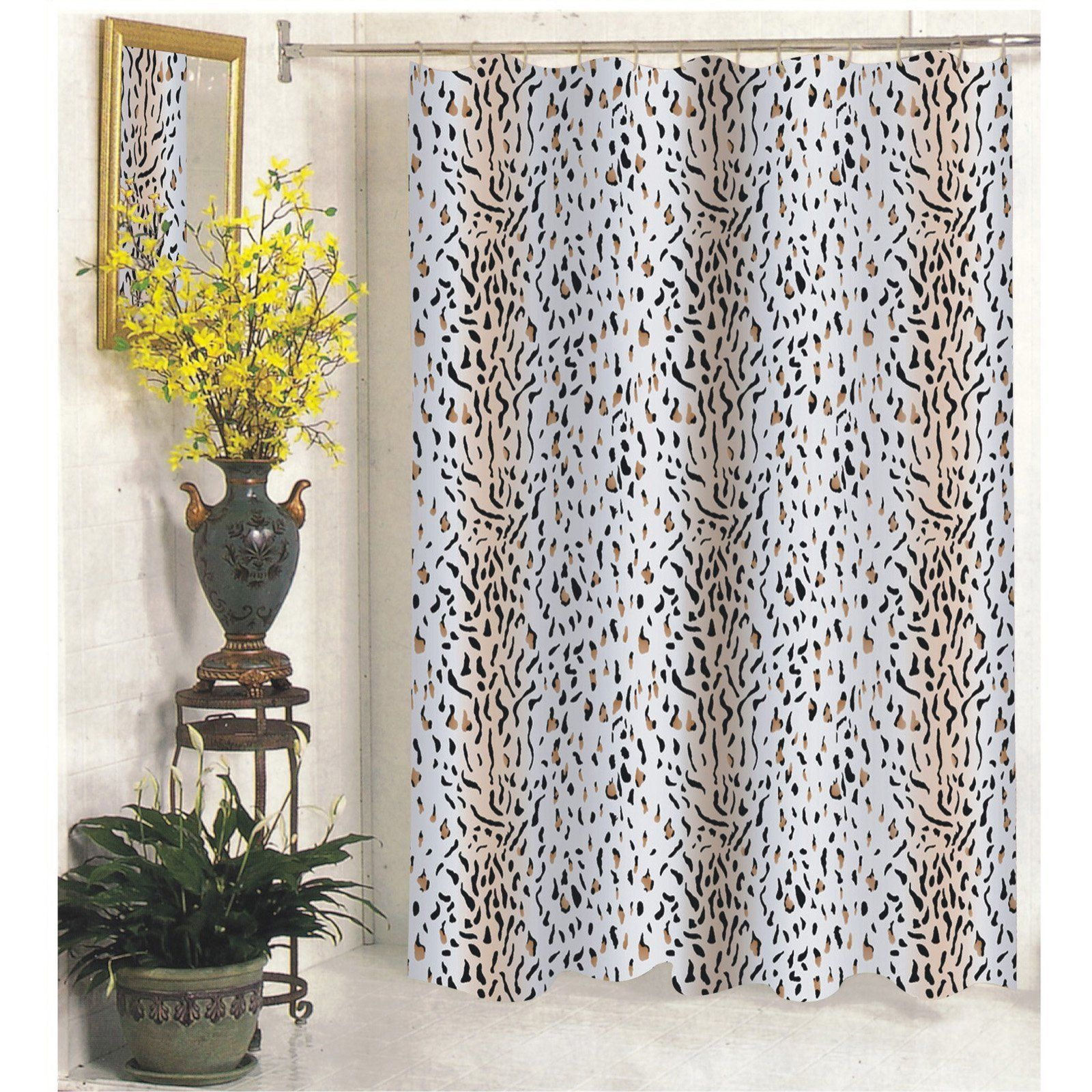Carnation Home Fashions Hailey Leopard Print Fabric Shower Curtain