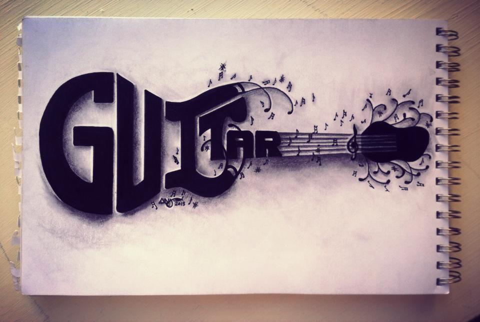 Musical Word Art Guitar Drawn By Art By Anj Art By Anj In 2019