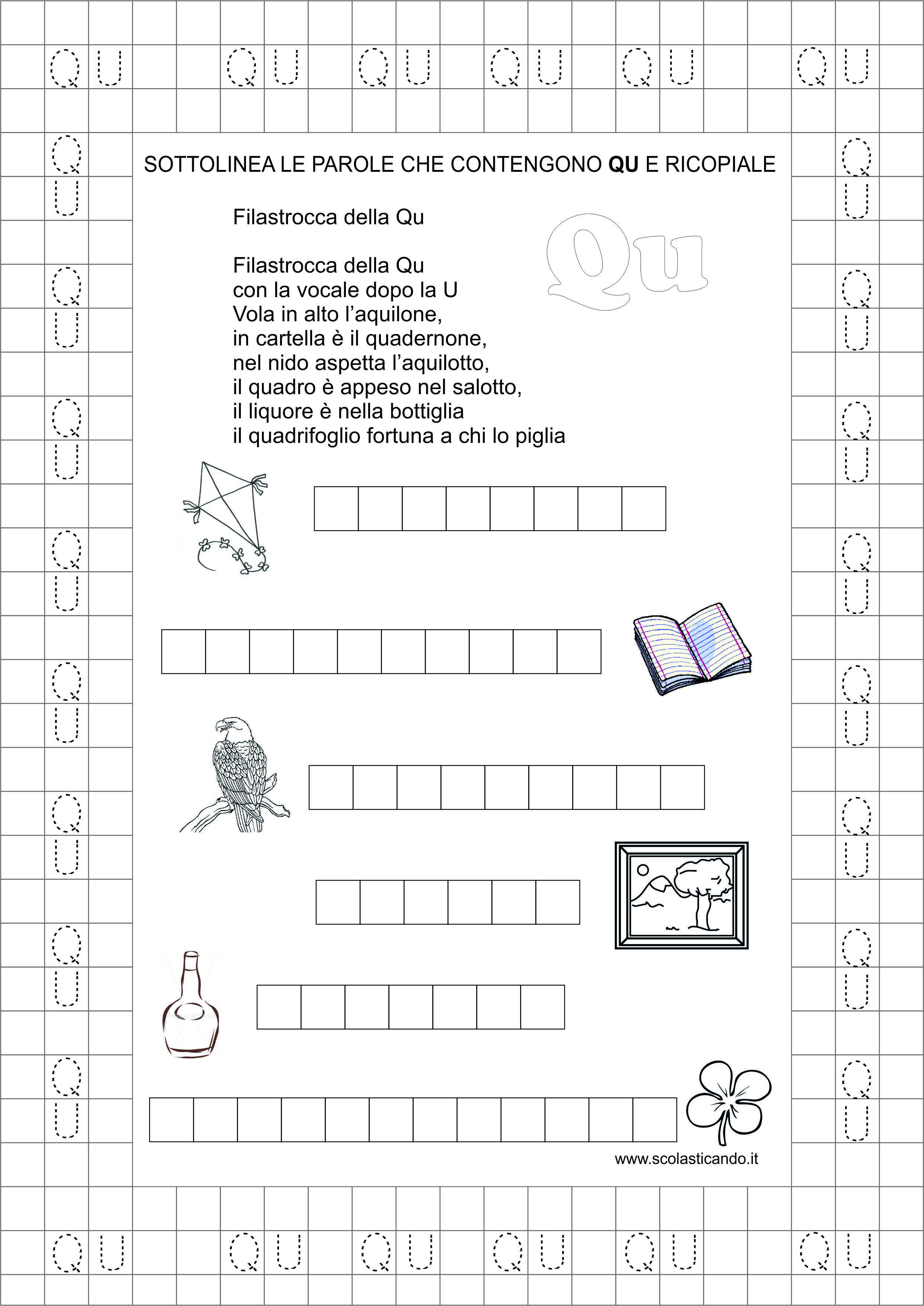Estremamente Classe prima: schede didattiche Qu da scaricare | Scolasticando  PD67