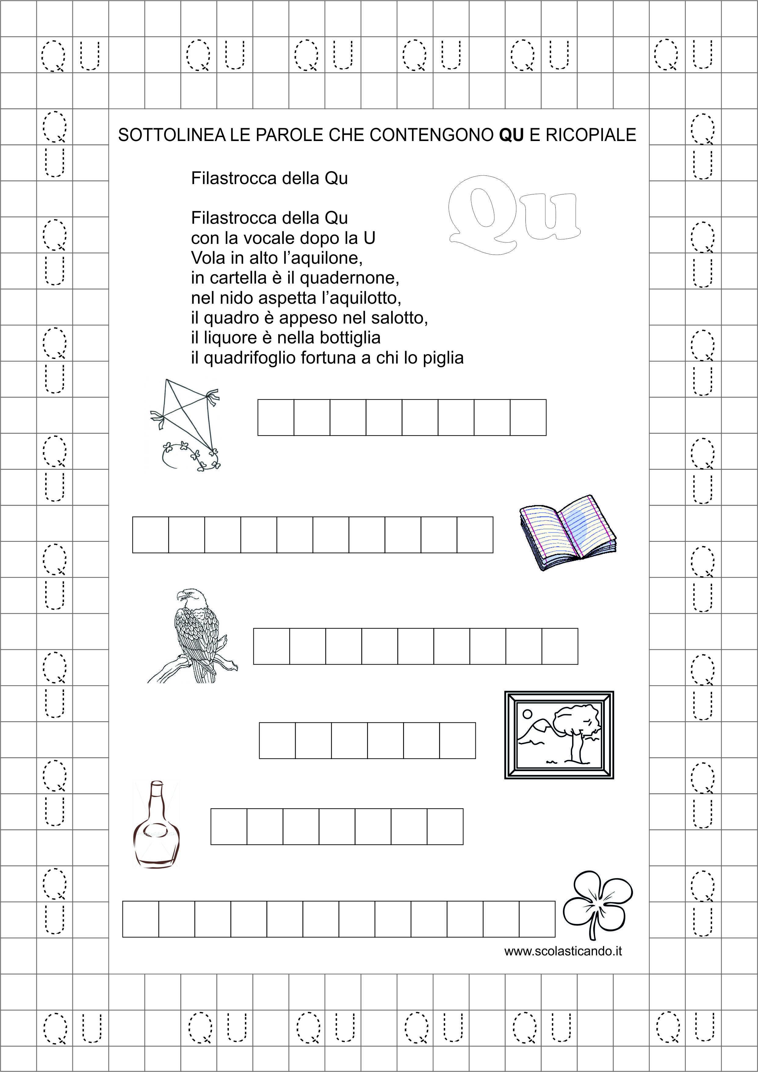 Ben noto Classe prima: schede didattiche Qu da scaricare | Scolasticando  LK46