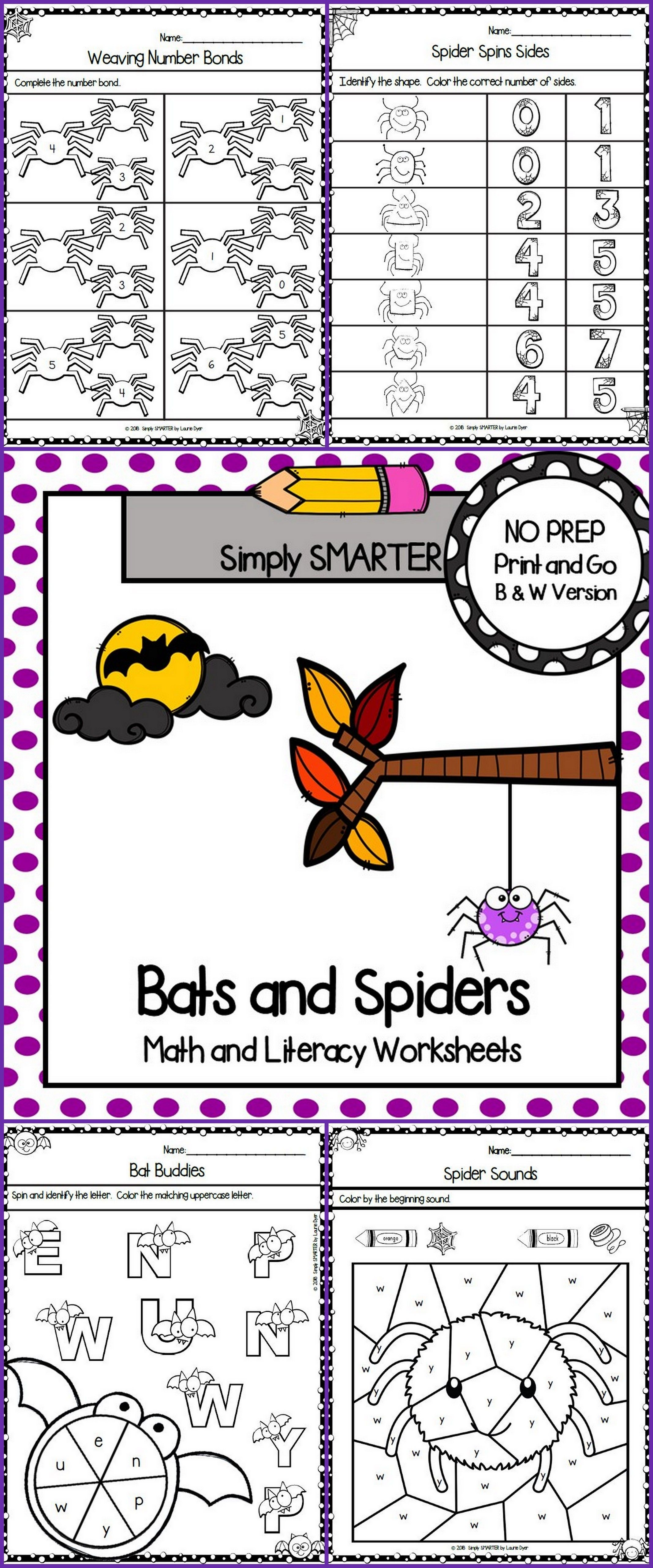 Bats And Spiders Themed Kindergarten Math And Literacy