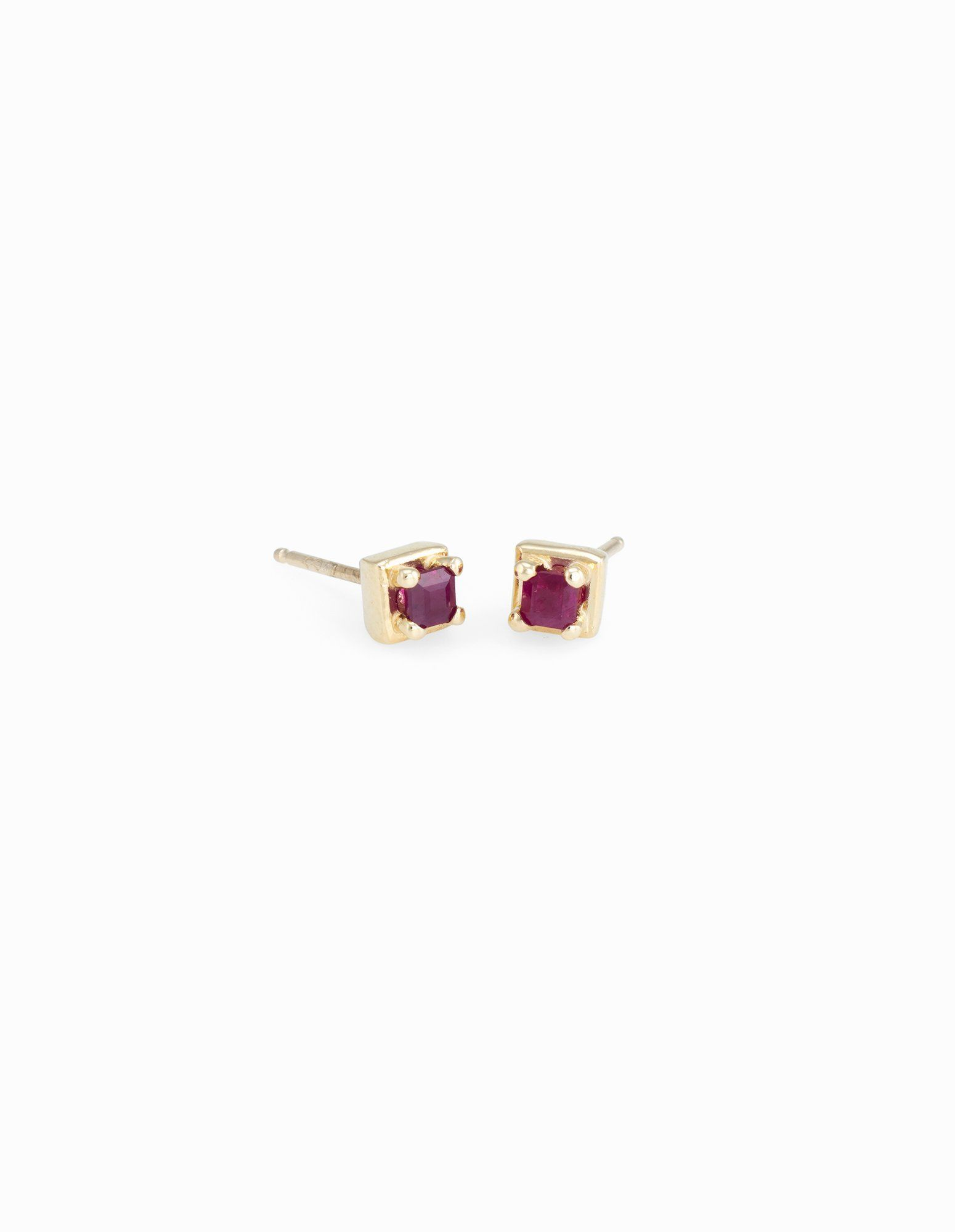 8be072486 Ruby square studs framed in 14k gold. Measure approximately: 4.5 x 4.5 mm  Handmade in the USA.