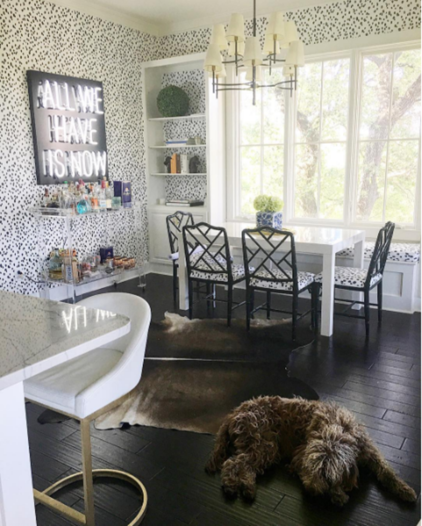 Kitchen by Katie Kime feat. Black Seeing Spots & lucite bar cart ...