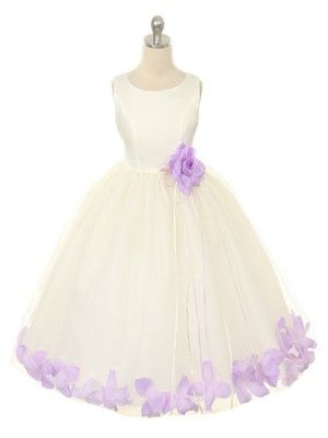 3569167dc00 IVORY flower girl DRESS WITH LILAC PETALS