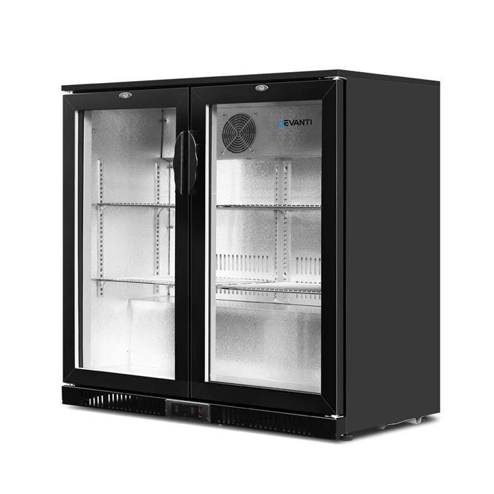Bar Fridge 2 Glass Door Commercial Display Freeer Drink Beverage Cooler Black In 2020