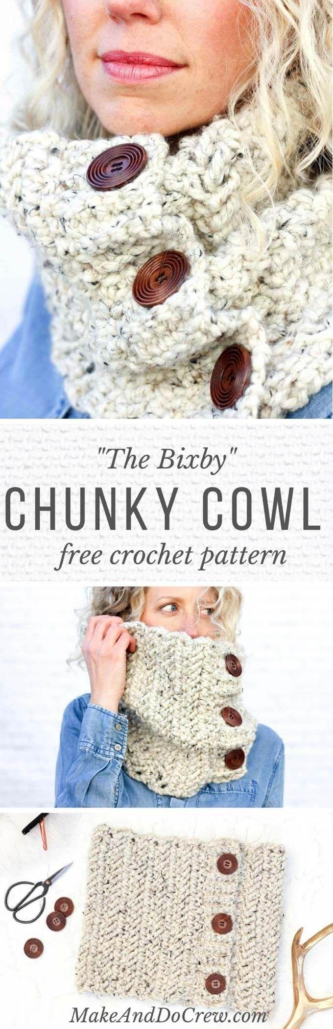 Free Crochet Cowl Pattern:   Tejido, Patrón de ganchillo y Cuellos ...