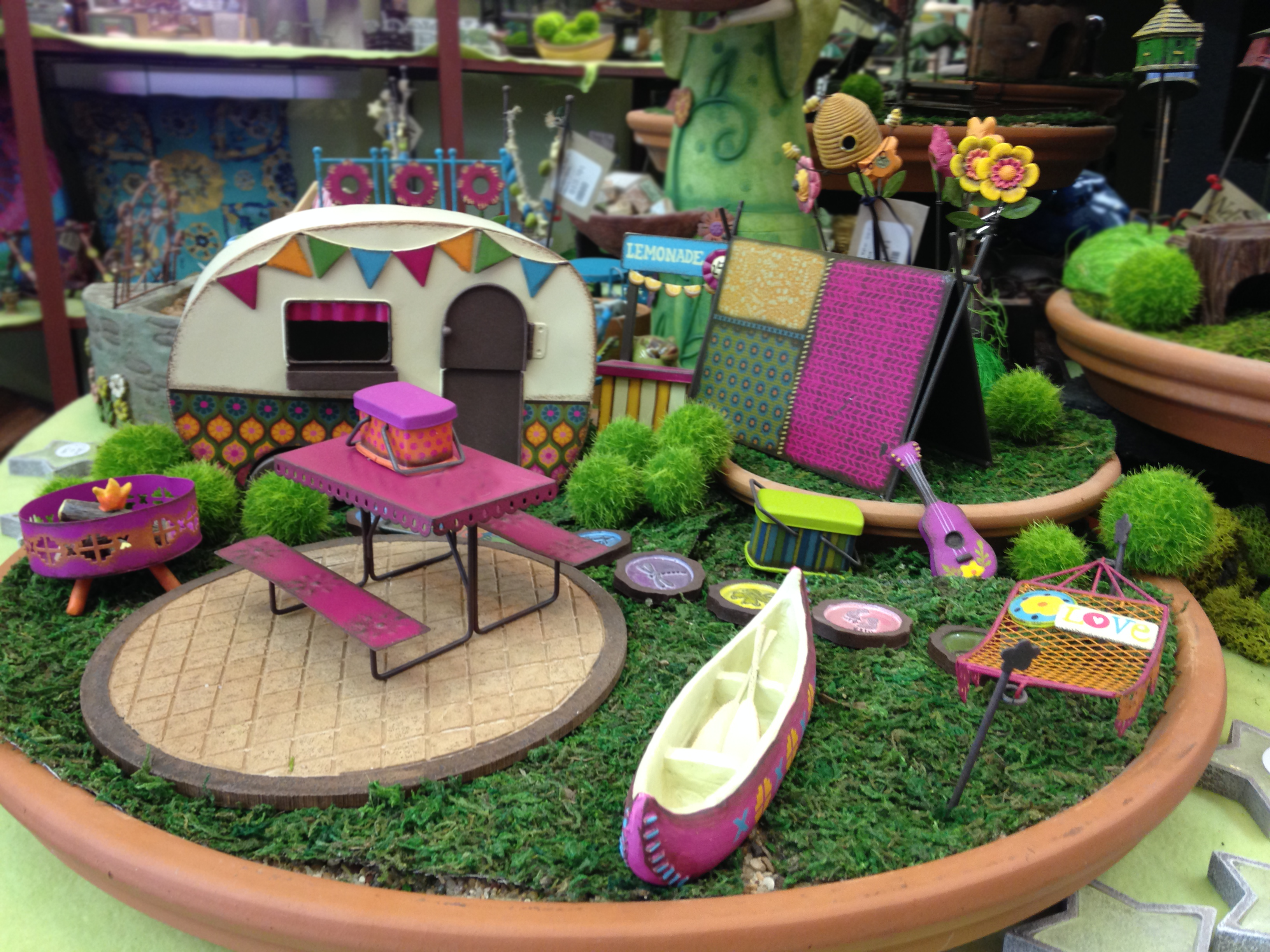 Cute Camping Fairy Garden Set Up In Our Shop!