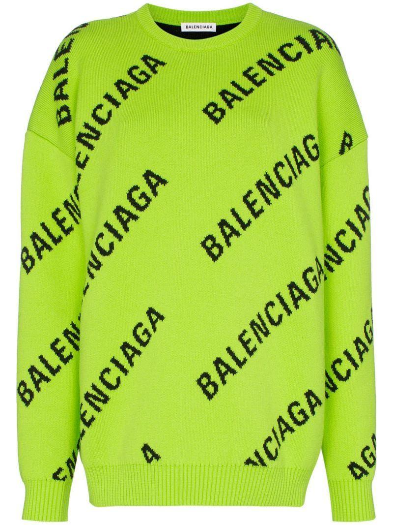 Balenciaga Intarsia Logo Oversized Cotton Blend Jumper Farfetch Fashion Casual Tops Balenciaga [ 1067 x 800 Pixel ]