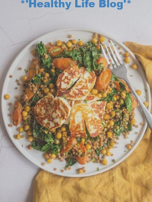 Gebratener Halloumi mit geröstetem Karotten-Kichererbsen-Couscous