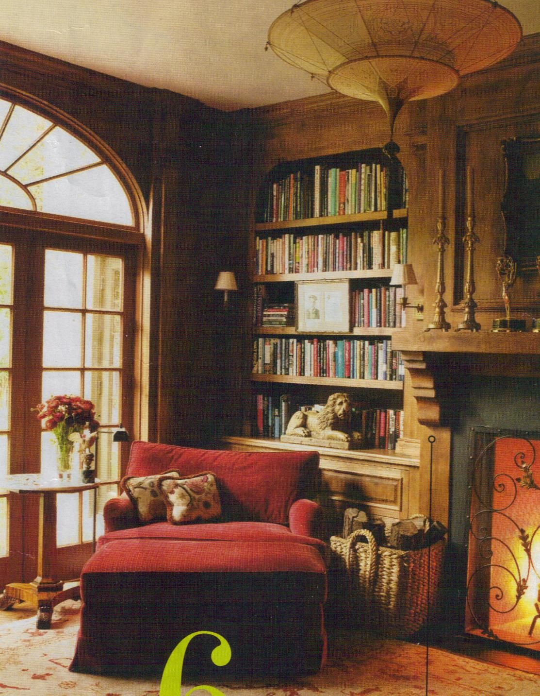 Big Chair By A Fireplace Perfect For Reading On A Chilly Day Cozy Home Library Cozy House Home