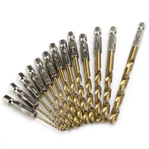 13pcs//set HSS High Speed Steel Titanium Coated Drill Bit Set 1//4 Hex Shank 1.5-6.5mm Electric Screwdriver Twist Drill Bit