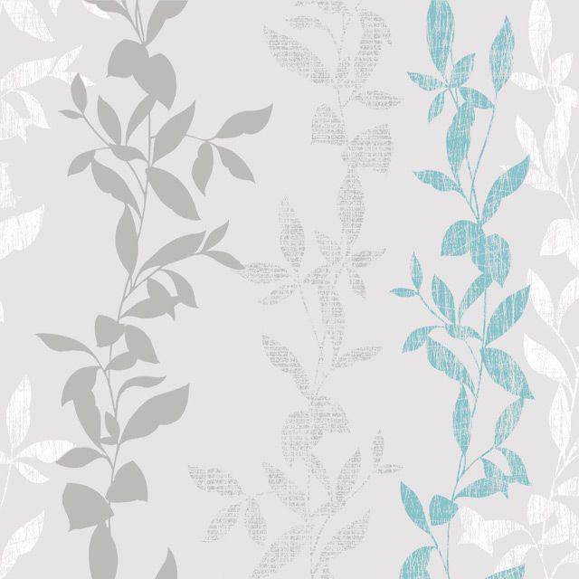 Papier peint vinyle graine sur intiss feuilles bleu castorama d coration chambre ambre - Papier peint intisse castorama ...