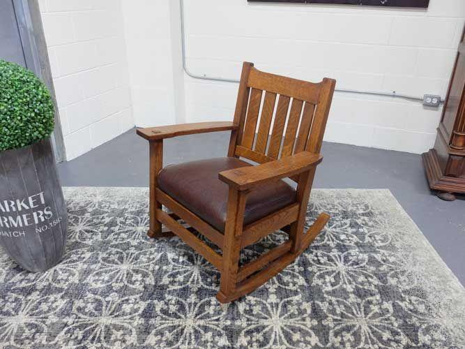 Antiques By Design - U Back Paddle Arm Arts + Crafts Oak Rocking Chair - Antiques By Design - U Back Paddle Arm Arts + Crafts Oak Rocking