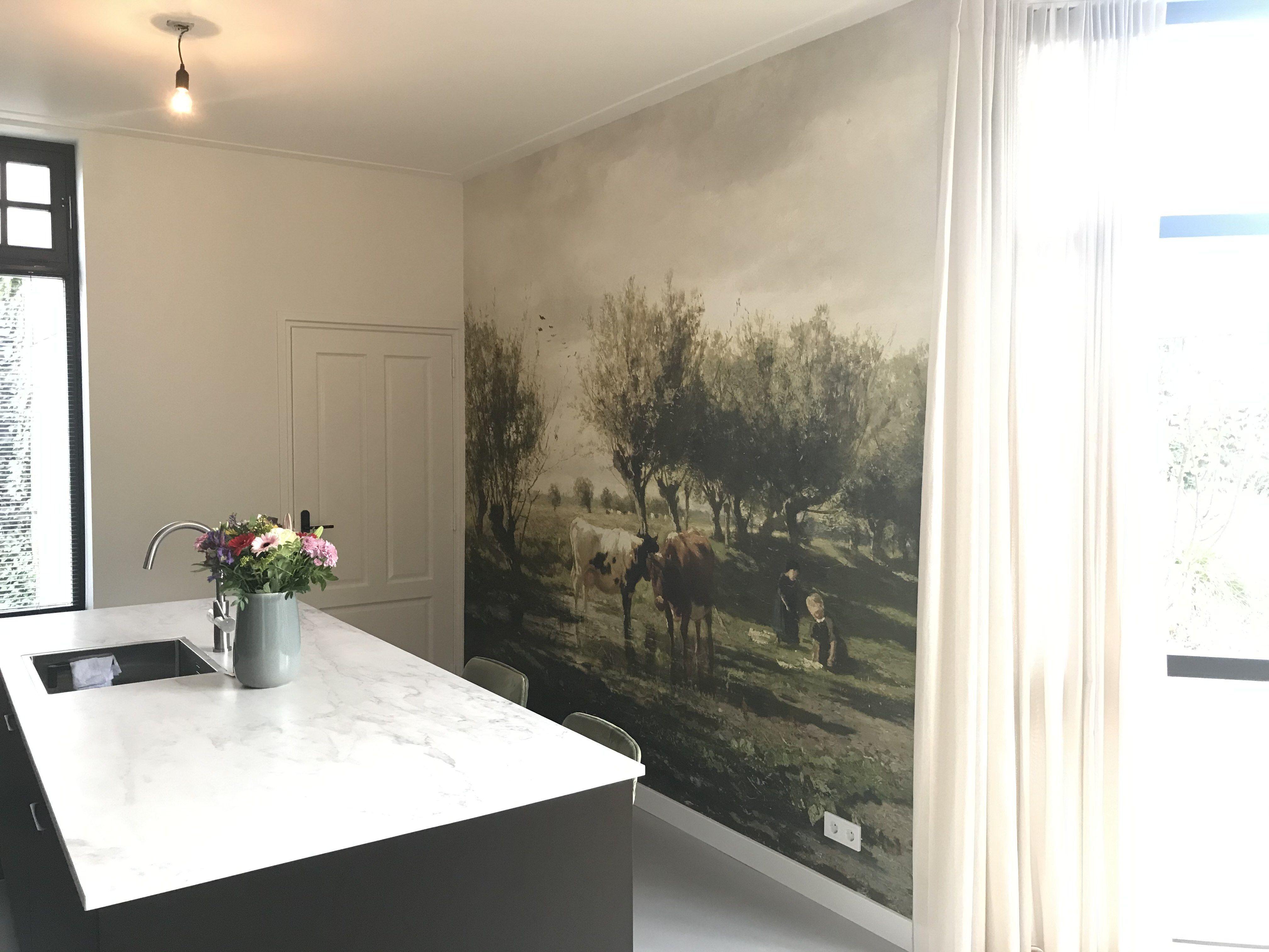 Koeien Bij Een Plas Gerard Bilders Op Canvas Behang Poster En Meer Behang Abstract Behang Fotobehang