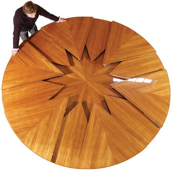 Expanding Round Table. Expands On A Mechanical Iris. My Future Dining Table