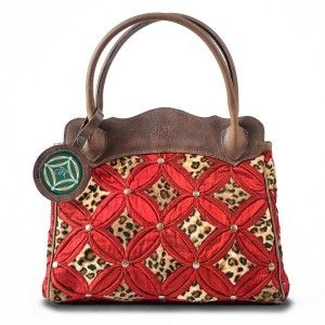 Big Cat Collection Handbags Red Leopard Brown Leather & Silk