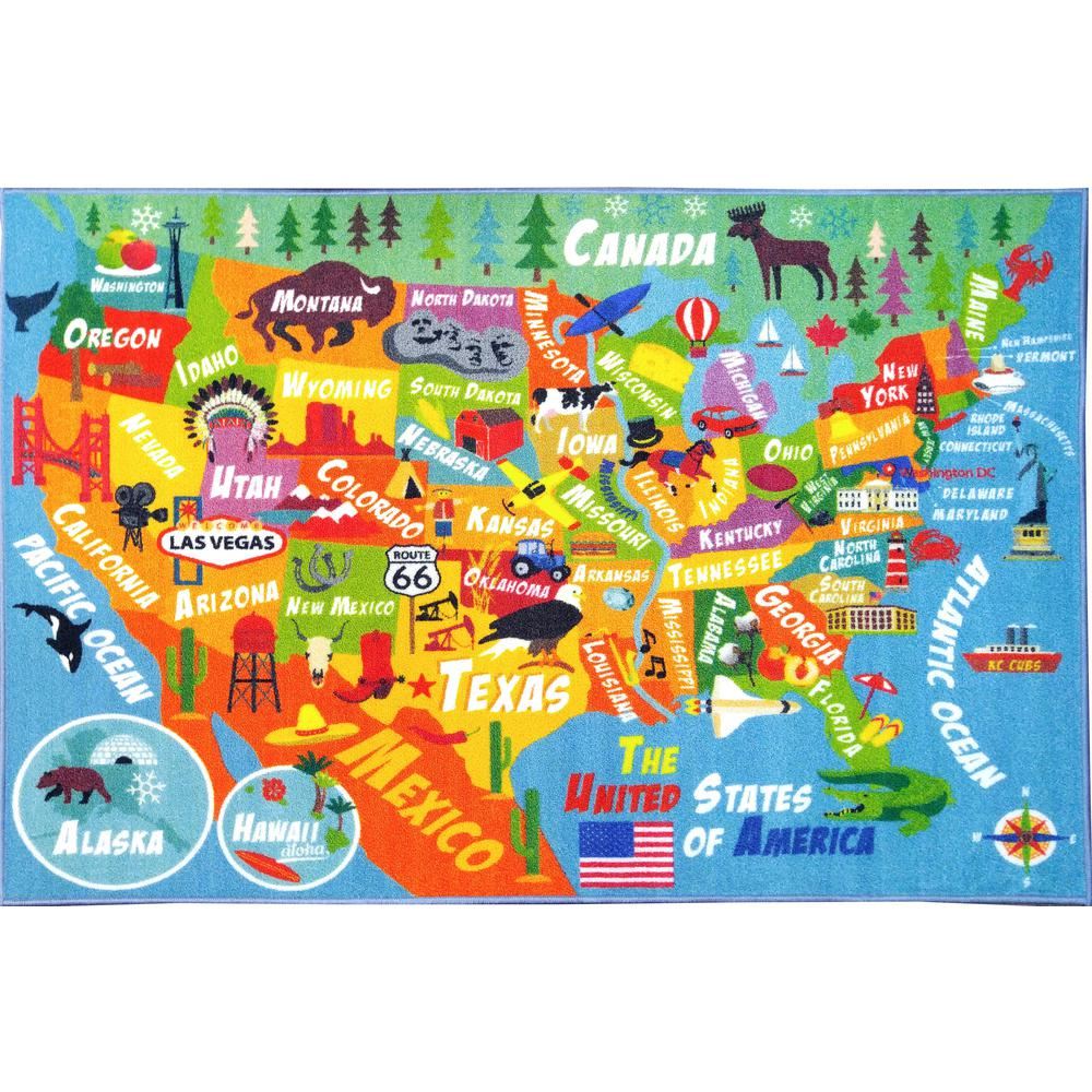 KC CUBS Multi-Color Kids and Children Bedroom Playroom USA United States Map Educational Learning 3 ft. x 5 ft. Area Rug-KCP010023-3x5 - The Home Depot