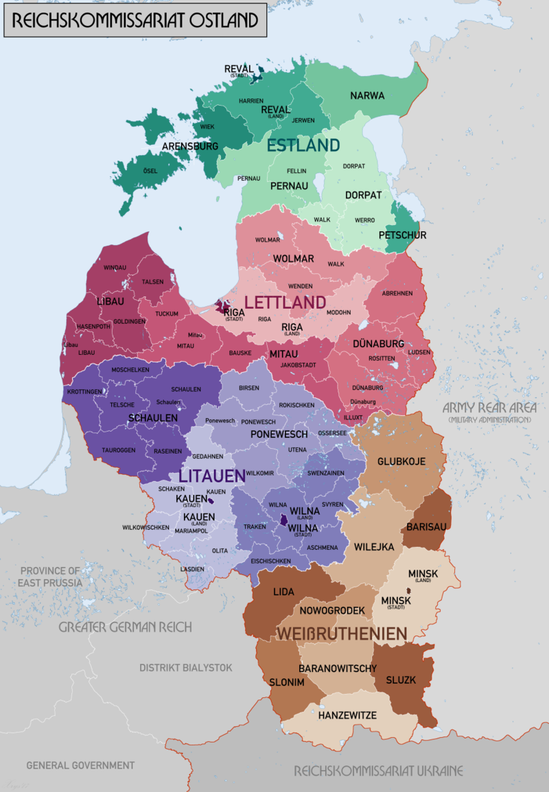 Map Of Reichskommissariat Ostland The German Civilian Occupation Regime In The Baltic States Northern Poland A Fantasy Map Historical Maps Alternate History
