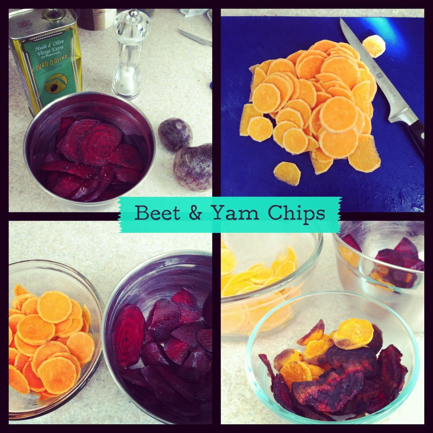 Yam & Beet Chips.   Ingredients: yams, beets, olive oil, sea salt. Drizzle a bit of olive oil in a bowl of thinly sliced yams/beets and toss. Place them on a cookie sheet and add sea salt. Bake at 350F for 10-15 mins each side.   Super-easy & healthy snack!