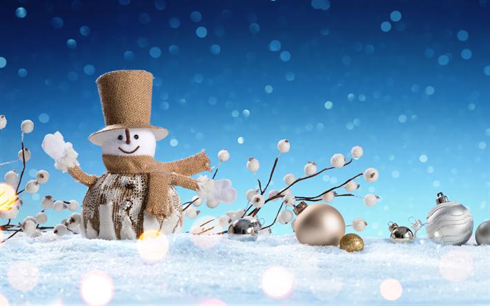 Download Wallpapers Winter Snowman Christmas Snow Christmas Golden Balls New Year Besthqwallpapers Com Snowman Wallpaper Snowman Snowman Images