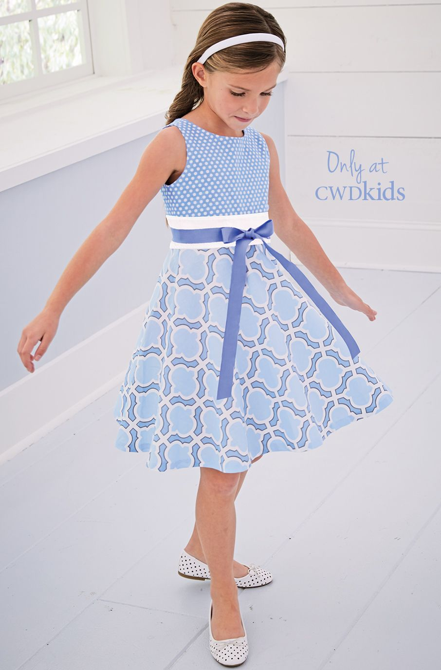 From cwdkids light blue mixed print dress patrones para blusas y