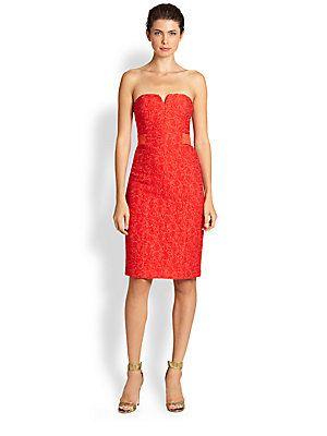 halston heritage jacquard strapless dress  dresses