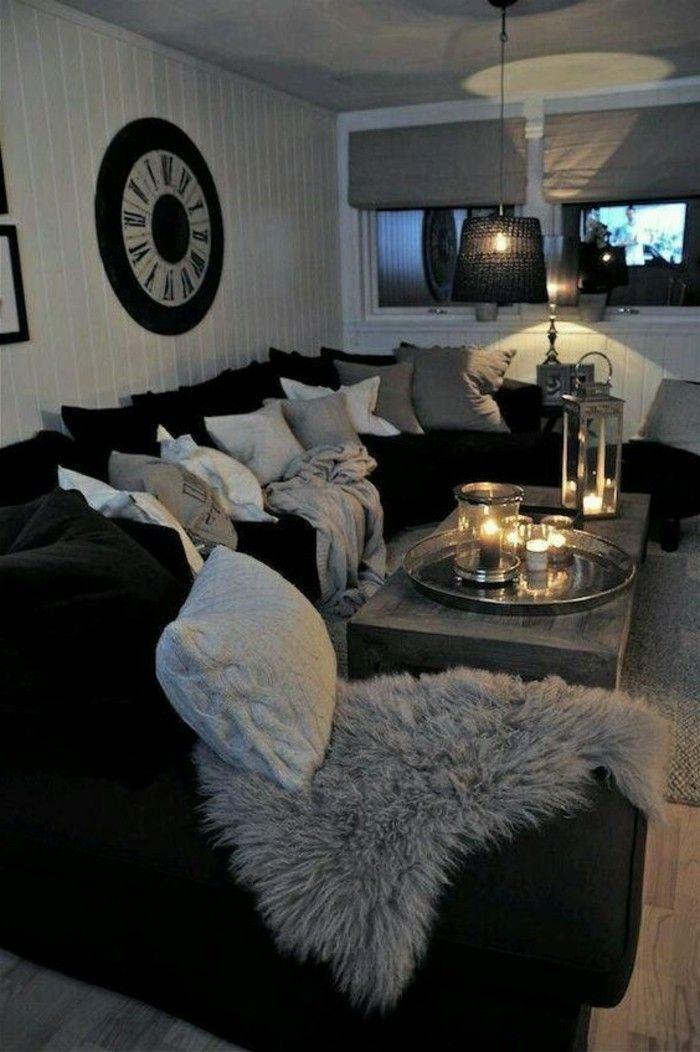 salon noir et gris dcoration de salle de sjour simple et cosy